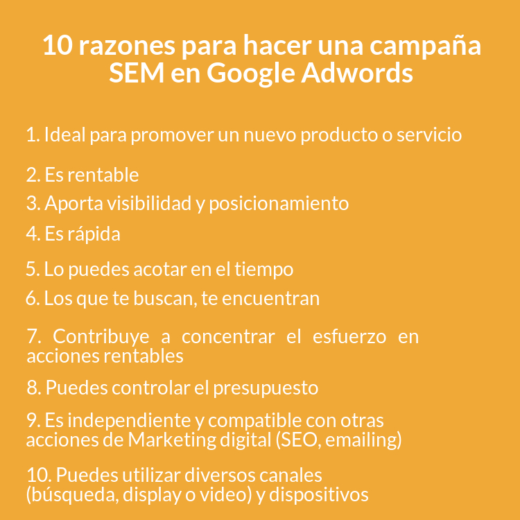 Las 10 razones para realizar una campaña SEM en Google Adwods