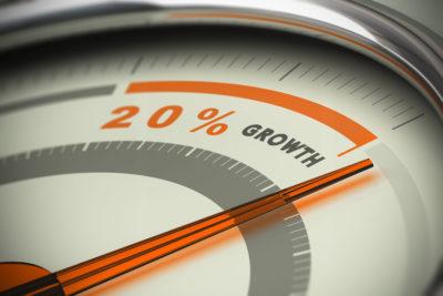 Imagen medidor 20% crecimiento - KIP establecer objetivos de marketing digital