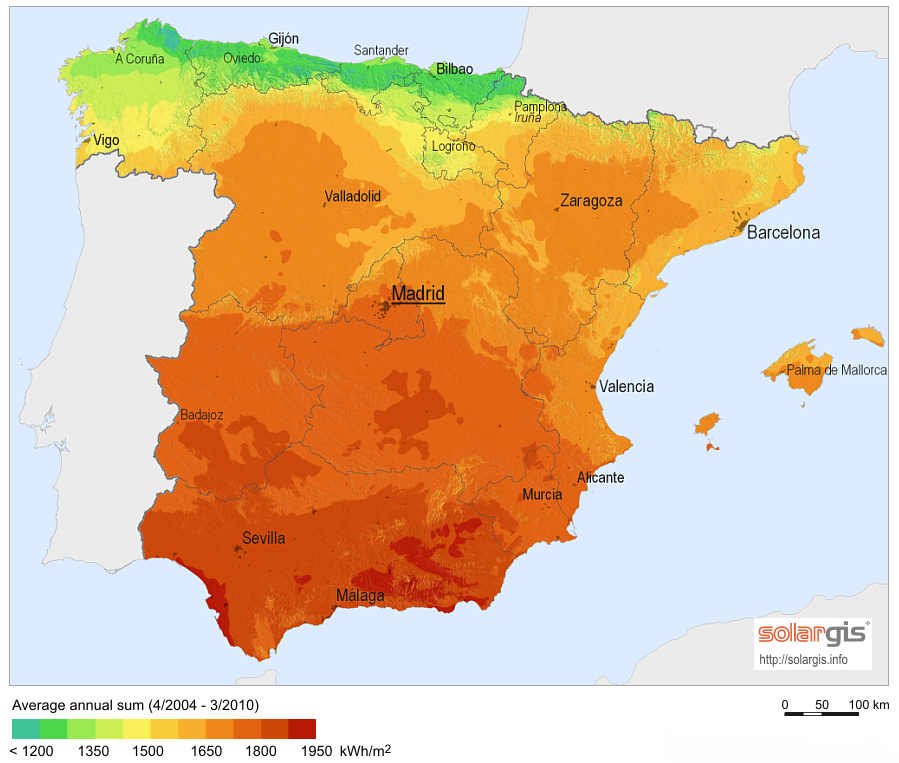 spain solar irradiation index